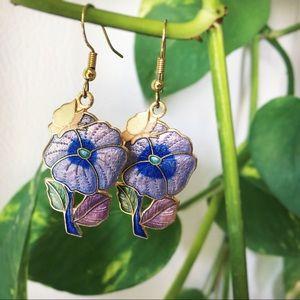 Vintage Purple Pansy Flower Earrings